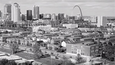 St. Louis from overhead in black and white